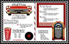 Diner Menu Templates As an invite? Diner Menu, Diner Party, Party Fiesta, 1950 Diner, Retro Diner, Vintage Diner, Restaurant Menu Template, Menu Restaurant, Resturant Menu