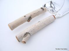 Birch Cake Server and Knife from a Real Birch Tree Handmade by The Bent Tree Gallery