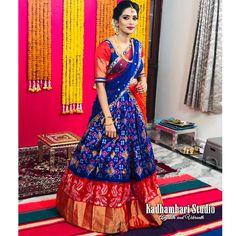 Love for ikkath will never leave us . Half Saree Lehenga, Lehenga Saree Design, Lehnga Dress, Lehenga Designs, Kerala Saree Blouse Designs, Half Saree Designs, Kalamkari Dresses, Ikkat Dresses, Half Saree Function