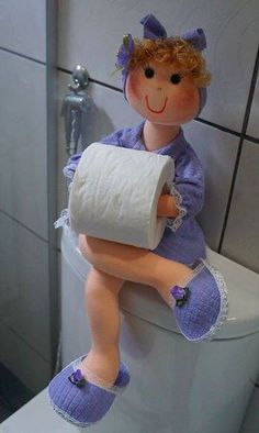 Hand embroidered doll, 45 cm. Toilet paper holder. £38.50