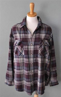 Vtg 80s Timber Trail punk Plaid Flannel Shirt Men L grunge Maroon blue F3