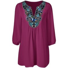 Plus Size Embroidered Rhinestone Embellished Blouse ($12) ❤ liked on Polyvore featuring tops, blouses, embroidered blouse, embroidered top, plus size tops, women's plus size blouses and purple top