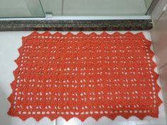 Tapete de banheiro em crochet laranja