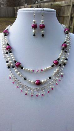 Elegant 3 Strand Necklace and Earring Set