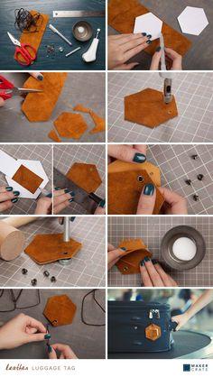 Leather Luggage Tag | DIY Luggage Tag | Maker Crate #luggagetag #DIY