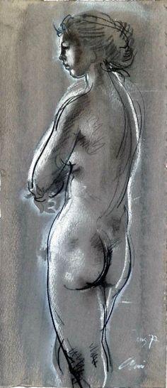 Hans Erni (b 1909, Switzerland) - Stehender Akt