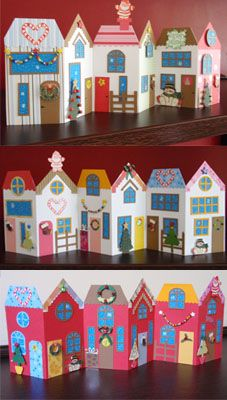 Lu Scrap and Crafts - Christmas Vilage Projects For Kids, Art Projects, Crafts For Kids, Arts And Crafts, Cardboard Box Crafts, Paper Crafts, Art Classroom, Elementary Art, Christmas Art
