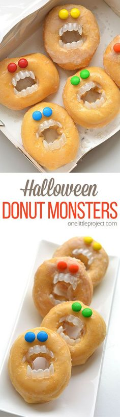 Best Halloween Party Snacks - Halloween Monster Donuts - Healthy Ideas for Kids for School, Teens and Adults - Easy and Quick Recipes and Idea for Dips, Chips, Spooky Cookies and Treats Halloween Party Snacks, Dessert Halloween, Soirée Halloween, Halloween Donuts, Hallowen Food, Halloween Goodies, Snacks Für Party, Party Appetizers, Halloween Breakfast