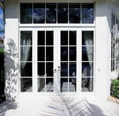 french door idea for door to kitchen with window above