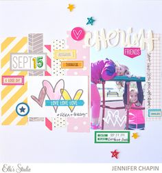 """Jennifer Chapin is using the """"For the Record"""" printables from Elle's Studio in this fun layout!"""