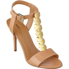 Nine West Delgado Ankle Strap Sandals featuring polyvore, fashion, shoes, sandals, natural leather, leather sandals, golden sandals, leather shoes, ankle wrap sandals and metallic high heel sandals