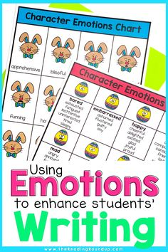 Character Emotions Charts don't just help improve students' reading comprehension, they can also enhance their writing. Students can increase their vocabulary using the emotions charts as they learn synonyms for commonly used emotion words. The printable anchor charts can be displayed in an elementary classroom or in students' writing notebooks. Find other easy and fun ideas for incorporating this tool into your Writing Workshop! #thereadingroundup #anchorcharts #springactivitiesforkids Guided Reading Activities, Vocabulary Activities, Reading Resources, Writing Workshop, Writing Skills, Creative Writing Stories, Emotion Words, Vocabulary Instruction, Writing Anchor Charts