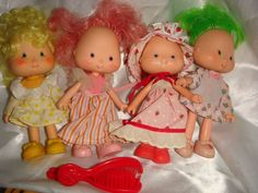 Vintage STRAWBERRY SHORTCAKE DOLLS LOT with clothes and shoes  #DollswithClothingAccessories