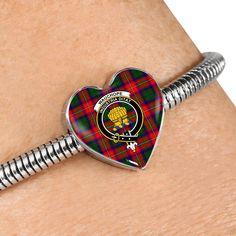 Wauchope Tartan Crest Heart Bracelet – Your Tartan Working Mother, Working Moms, Scottish Tartans, Everyday Items, Heart Bracelet, Bangles, Bracelets, Heart Charm, 18k Gold