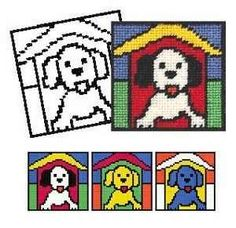 Puppy Tapestry - The kit includes a tapestry canvas with a black outline of the…