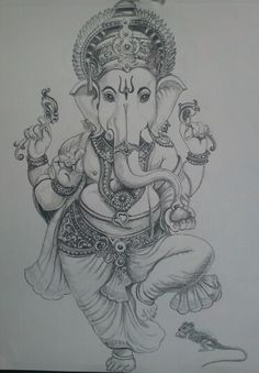 Arte Ganesha, Ganesha Sketch, Ganesha Drawing, Lord Ganesha Paintings, Lord Shiva Painting, Pencil Art Drawings, Art Drawings Sketches, Pencil Sketching, Realistic Drawings