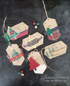 Fancy Friday Stampin' Up! Wrapped in Plaid Tags by Jeanna Bohanon Fancy Friday Stampin' Up! Wrapped in Plaid Tags by Jeanna Bohanon Stampin Up Christmas, Christmas Paper, Christmas Gift Tags, Christmas Wrapping, Xmas Cards, Handmade Christmas, Christmas Crafts, Plaid Christmas, Christmas Tables
