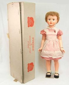 """Horsman """"Princess Peggy"""" Playtime Pal doll in original box, marked Horsman and dated 1959 on back of head. on Dec 2011 Vintage Dolls, Vintage Ads, Retro Toys, Collector Dolls, Old Toys, Toy Boxes, Beautiful Dolls, Girl Dolls, Childhood Memories"""