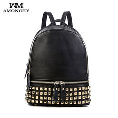 AMONCHY Brand Genuine Leather Backpack Designer Fashion Rivet Women Backpacks Casual Cowhide Female Shoulder Bags For Young Girl