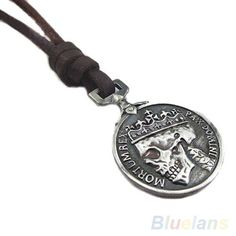 Vintage Silver Skull Pendant Genuine Leather Necklace necklaces pendants