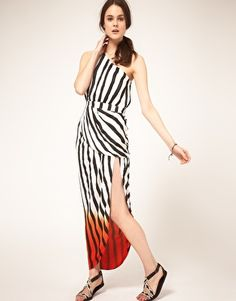 Love the red dip at the bottom, like she trailed through a pool of blood - Sass and Bide 'Beyond this Life' Dip Dye Stripe Maxi Dress