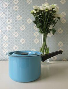 Vintage Enamel Saucepan by Finel in Soft Blue 1960s door Vantoen op Etsy