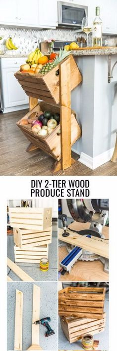 DIY Wood Crate Produce Stand. I like their Island and its edging