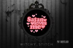 Satan Loves Me Cross Stitch Pattern Occult Modern Cross