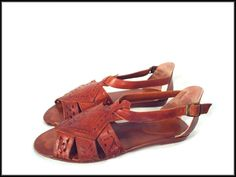 80's vintage woven cut-out leather flat GLADIATOR sandals 10 N