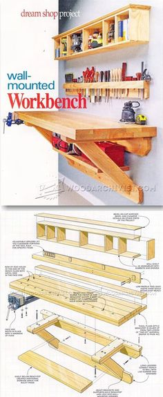 Wall Mounted Workbench Plans - Workshop Solutions Projects, Tips and Tricks | WoodArchivist.com More