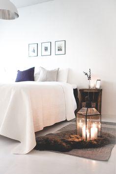 Bedroom, scandinavian, wintry bedroom, candles, pentik nordic interior