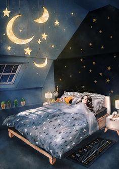 How great would it be if I could hang the moon and stars glowing in the night sky on my bedroom's ceiling? I would lie on my bed and watch the ceiling for a long time then fall into happy and comfy sleep just like in fairy tales.