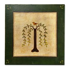 Primitive Willow Tree of Life Acrylic Small x Canvas Board Folk Art Shaker Rustic Painting, Diy Painting, Diy Canvas Art, Canvas Board, Primitive Folk Art, Primitive Embroidery, Country Primitive, Primitive Pictures, Tree Stencil