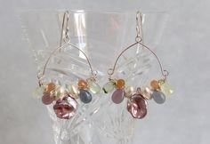 Multi Gem Hoop Earrings - Keshi Pearls Chalcedony Prehnite Sunstone, Sterling Silver Wire Wrap, Handmade Gemstone Bead Jewelry, Unique Boho by AdornmentsAndFrills on Etsy