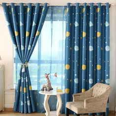 Modern Star Curtains for Children Blackout curtains for bedroom Kid Baby Room Darking Curtains Panel Drapes Childrens Curtains, Kids Room Curtains, Kids Bedroom, Bedroom Decor, Small Living Room Design, Living Room Designs, Blackout Curtains, Panel Curtains, Kids Room Paint