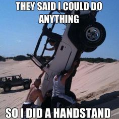 Jeeps aren't usually known for Gabby Douglas type gymnastic skills. #handstand #Olympics #4x4