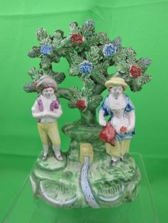 Antique Staffordshire Pearlware Bocage Figure, The Gardeners