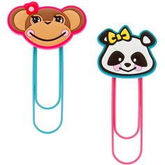 Monkey and Panda Jumbo Paper Clips Set of 2 ($35) ❤ liked on Polyvore featuring home, home decor, monkey home decor and claire's