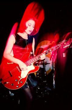 Miki Berenyi of Lush playing an Epiphone Riviera