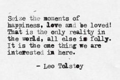 Seize the moments of happiness, love and be loved! That is the only reality in the world, all else is folly. It is the one thing we are interested in here. - War and Peace by Leo Tolstoy The Words, More Than Words, War And Peace Quotes, Quotes To Live By, Quotable Quotes, Book Quotes, Me Quotes, Moment Quotes, Financial Peace