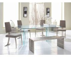 Glass on Glass Dining Table with Tania Dining Chair