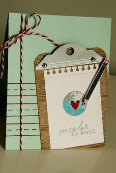 By: Erin Lincoln. Use PTI's Mat Stack 2 die for the clip on the clipboard Happy Trails, Ink Stamps, Felt Flowers, I Am Awesome, Paper Crafts, Scrapbook, Christmas Ornaments, Holiday Decor, Color