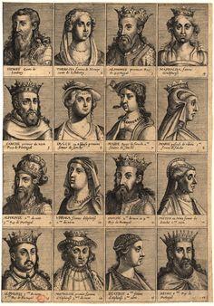 Conjunto de 16 supostos retratos de Reis e Rainhas de Portugal, postos por ordem cronológica em quadrículas numeradas que preenchem a obra por completo, desde o Conde D. Henrique ao Rei D. Dinis, estando todos identificados por legenda na respectiva base. Publicação 1630.