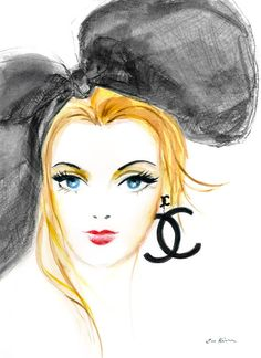 Chanel Girl  Fashion illustration art print by sookimstudio, on Etsy