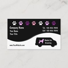 Mobile Pet Grooming, Dog Grooming, Pet Transport Service, Service Dogs, Business Card Size, Business Cards, Gifts For Pet Lovers, Business Branding, Zazzle Invitations
