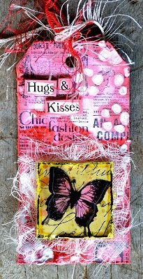 Tag created by Belinda Spencer using Darkroom Door 'Butterfly Post' Collage Stamp DDCS008. http://www.darkroomdoor.com/collage-stamps/collage-stamp-butterfly-post
