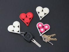 Geared Heart - Valentine's Keychain, Last Minute Gift - Single Print with Moving Parts