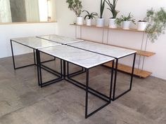 Our diy office desks, made with marble slabs and steel legs #marble #steel #table