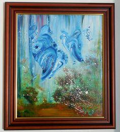 """Öl Acryl Tempera Gemälde Kanvas Rahmen Handgemalt Fisch Wasser Abstrakt direkt,   """"hydropsie of world"""" Hajewski Gc, Öl, Acryl, kanvas Größe: 60x50cm, Größe des Gemäldes mit Rahmen: ca 75x65cm (Rahmen: Holz dunkelbraun mit goldfarbenem Innenrand)"""