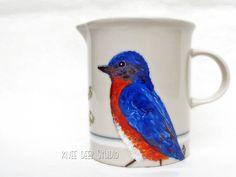 Eastern Bluebird Creamer Handpainted by KneeDeepOriginals on Etsy